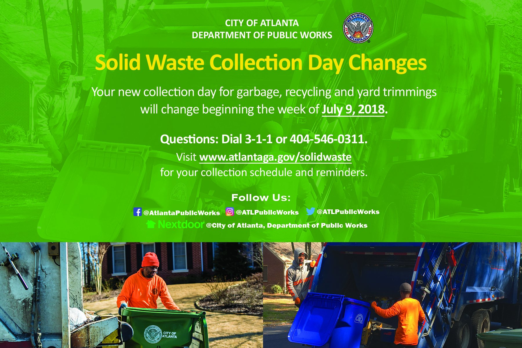 ACTION: Garbage pick-up schedule changes on July 9th - Midtown ...