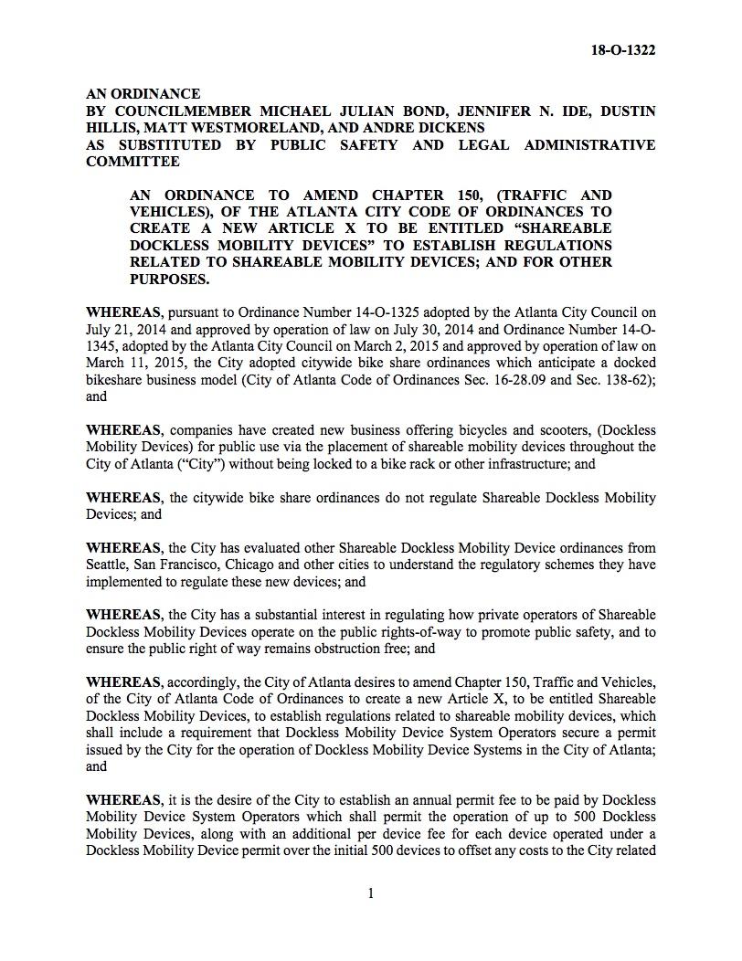 Atlanta City Council Passes Dockless Legislation - Midtown